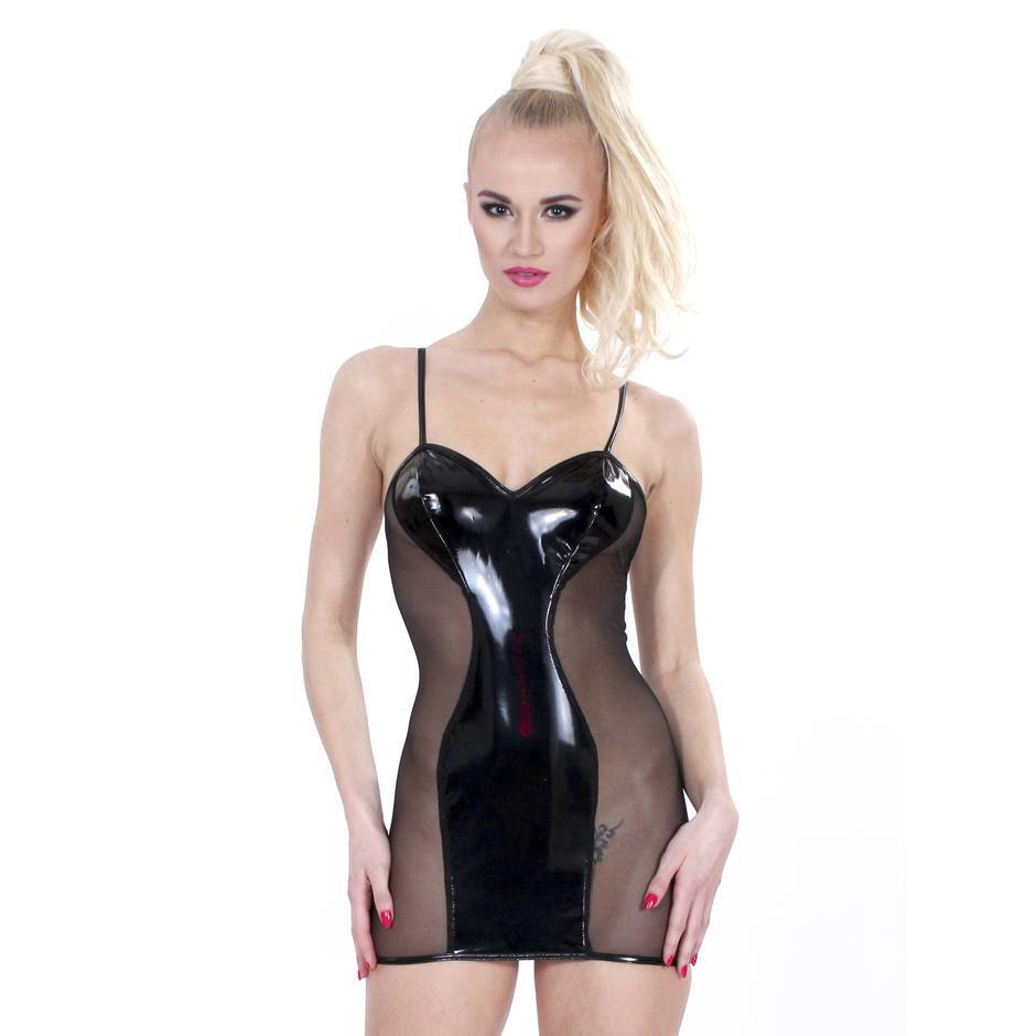 Sexy PVC and Mesh Hourglass Mini Dress