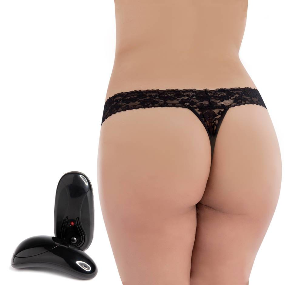 Secrets Plus Size 5 Function Remote Control Vibrating Lace Thong