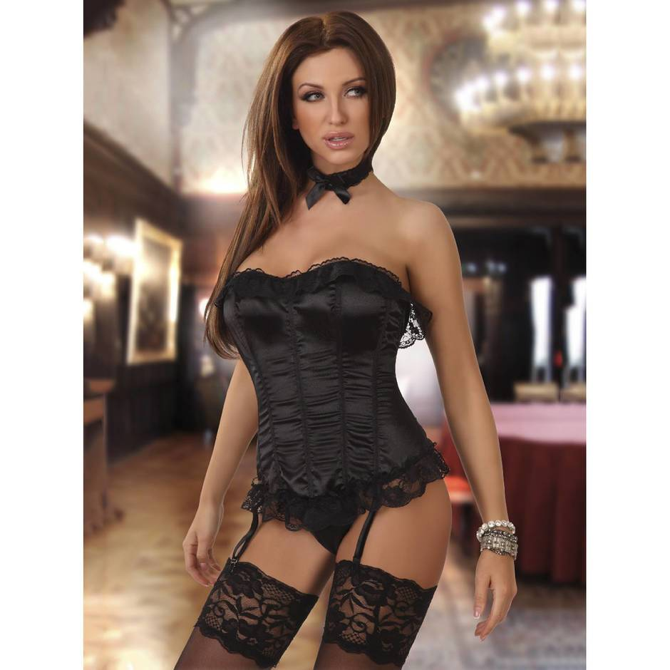 Beauty Night Black Satin Corset with Lace Trim