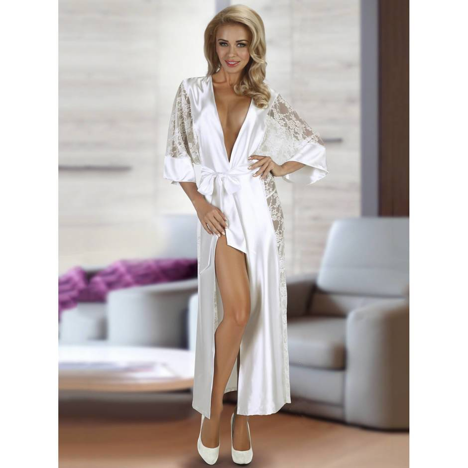 Beauty Night Long White Satin and Lace Robe Set