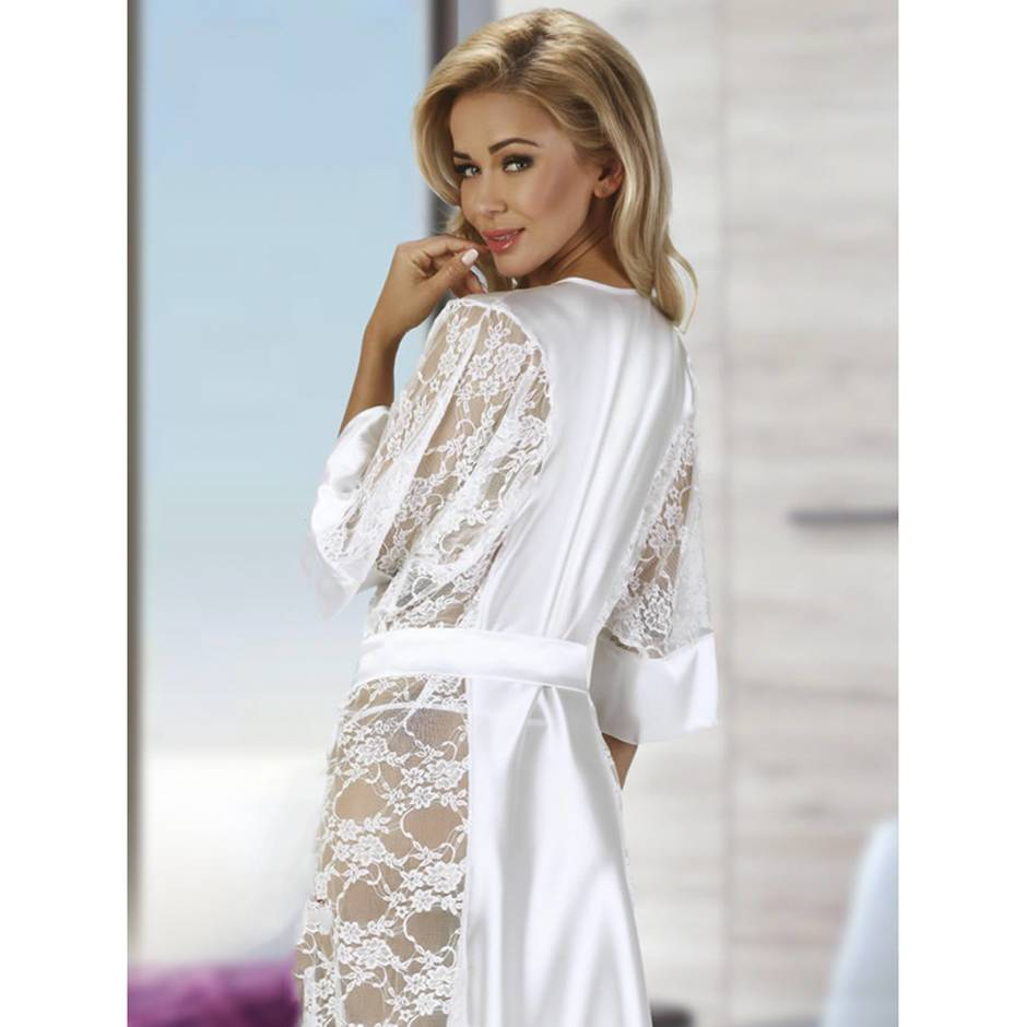 Robe: Beauty Night Long White Satin And Lace Robe Set