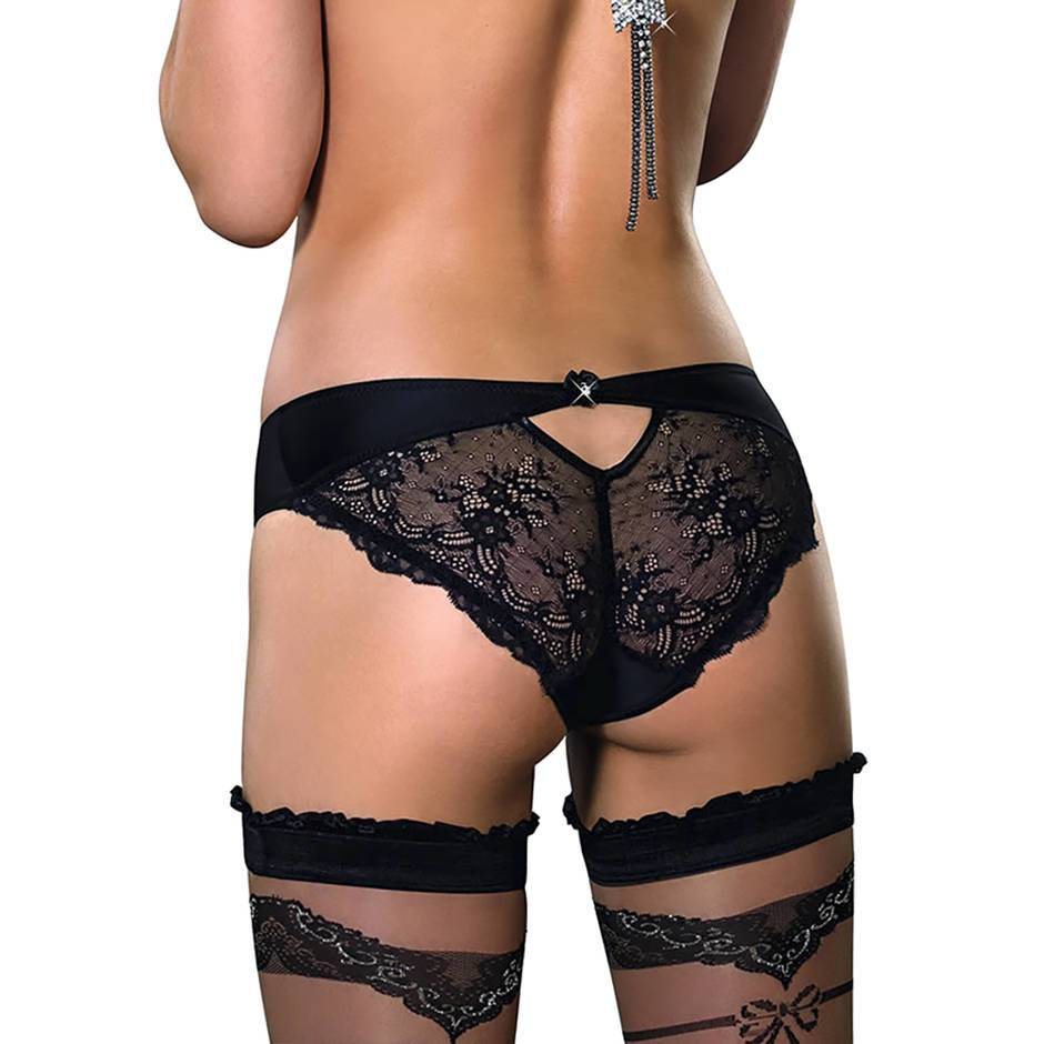 Roza Ali Black Satin Lace Back Brief