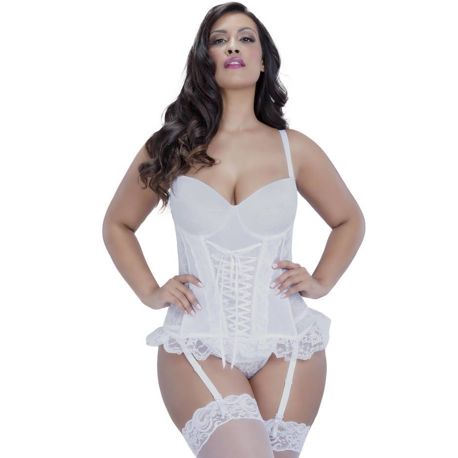 Oh La La Cheri Lace Up Front Satin Basque Set