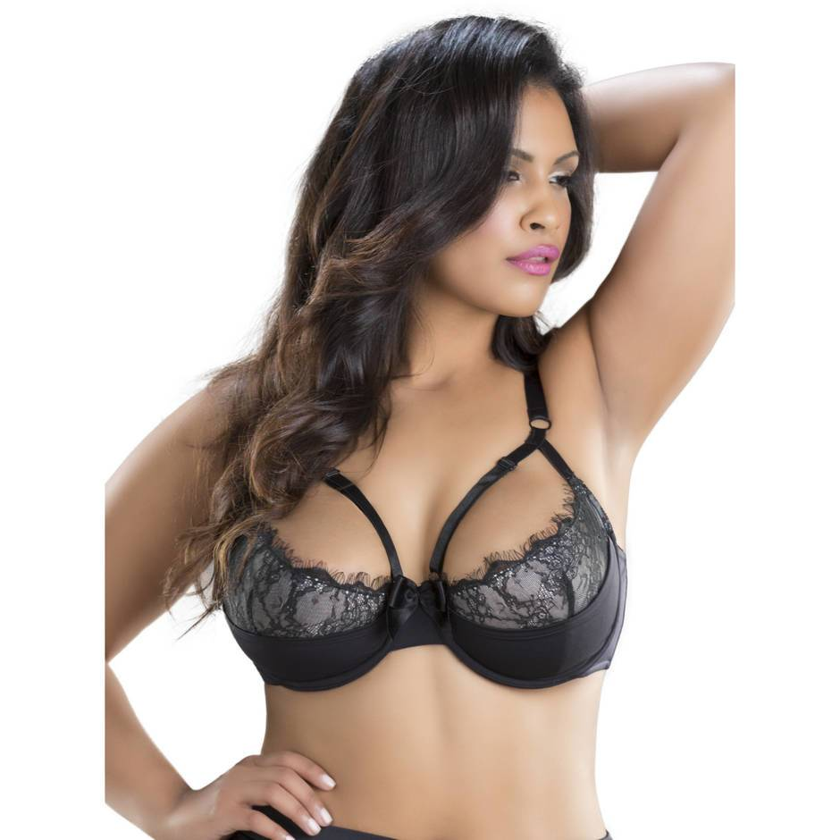 Oh La La Cheri Curves Plus Size Underwired Strap Detail Bra