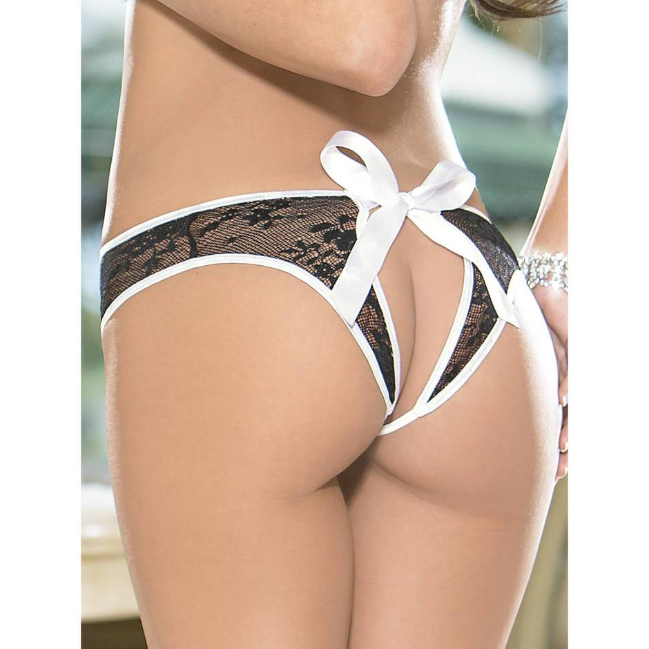 Crotchless Open Back French Maid Knickers
