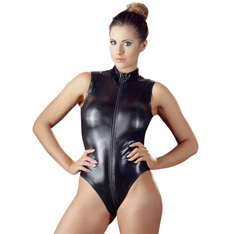 Cottelli Wet Look Zip-Up Crotchless Teddy