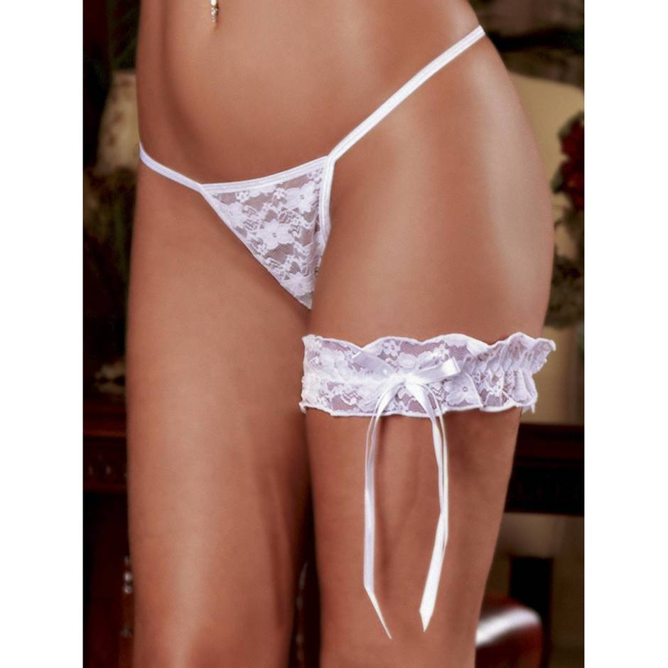 Exposed Lace Garter in White