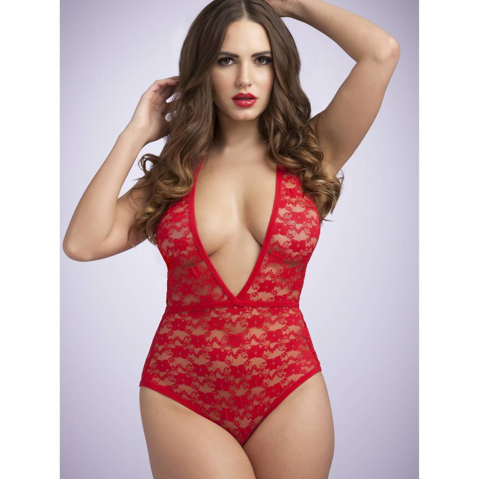 Lovehoney Crotchless Deep Plunge Red Lace Teddy