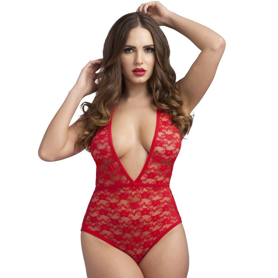 Body fendu décolleté plongeant dentelle rouge, Lovehoney