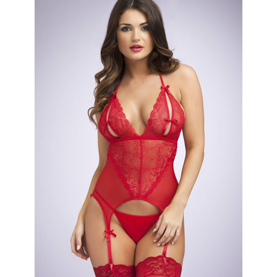 Lovehoney Peek-A-Boo Merry Widow Red Bustier  Basques -8890