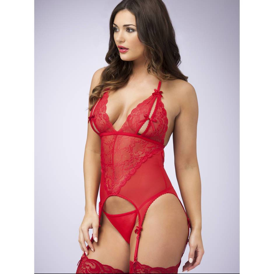 Lovehoney Peek-A-Boo Merry Widow Red Bustier  Basques -2053