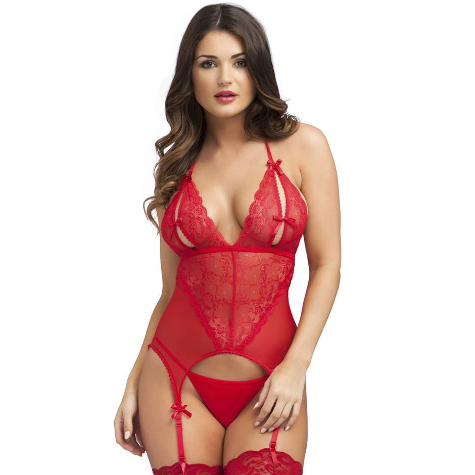 Combiné sans armatures bonnets fendus rouge, Lovehoney