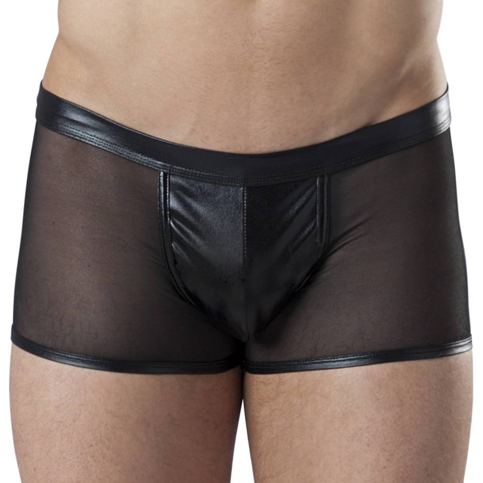 LHM Wet Look and Sheer Mesh Boxer Shorts