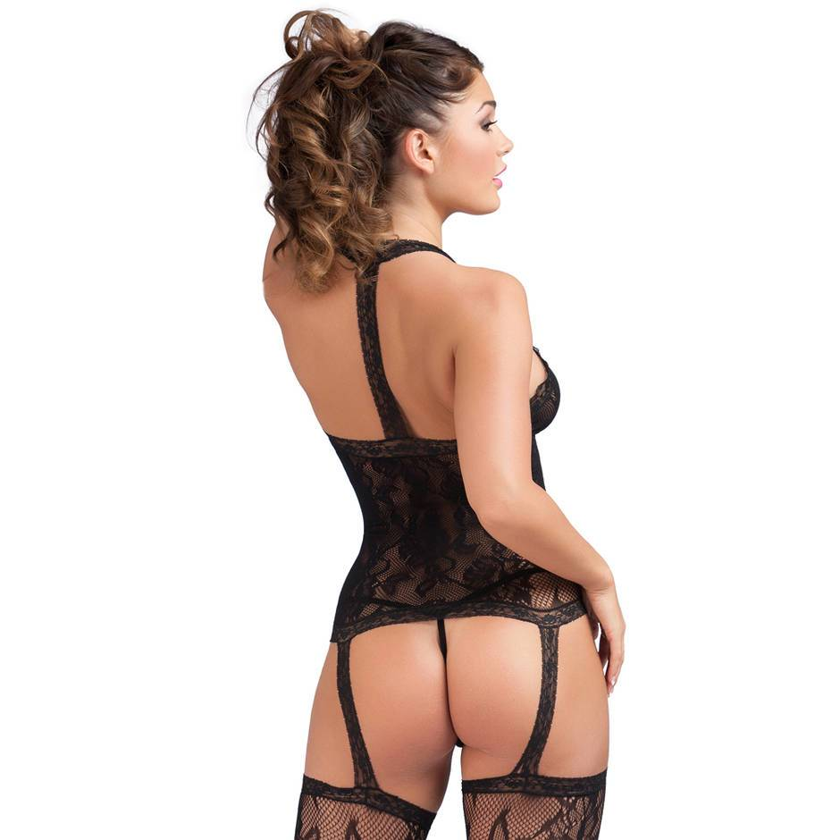 Lovehoney Black Floral Lace Halterneck Garter Bodystocking