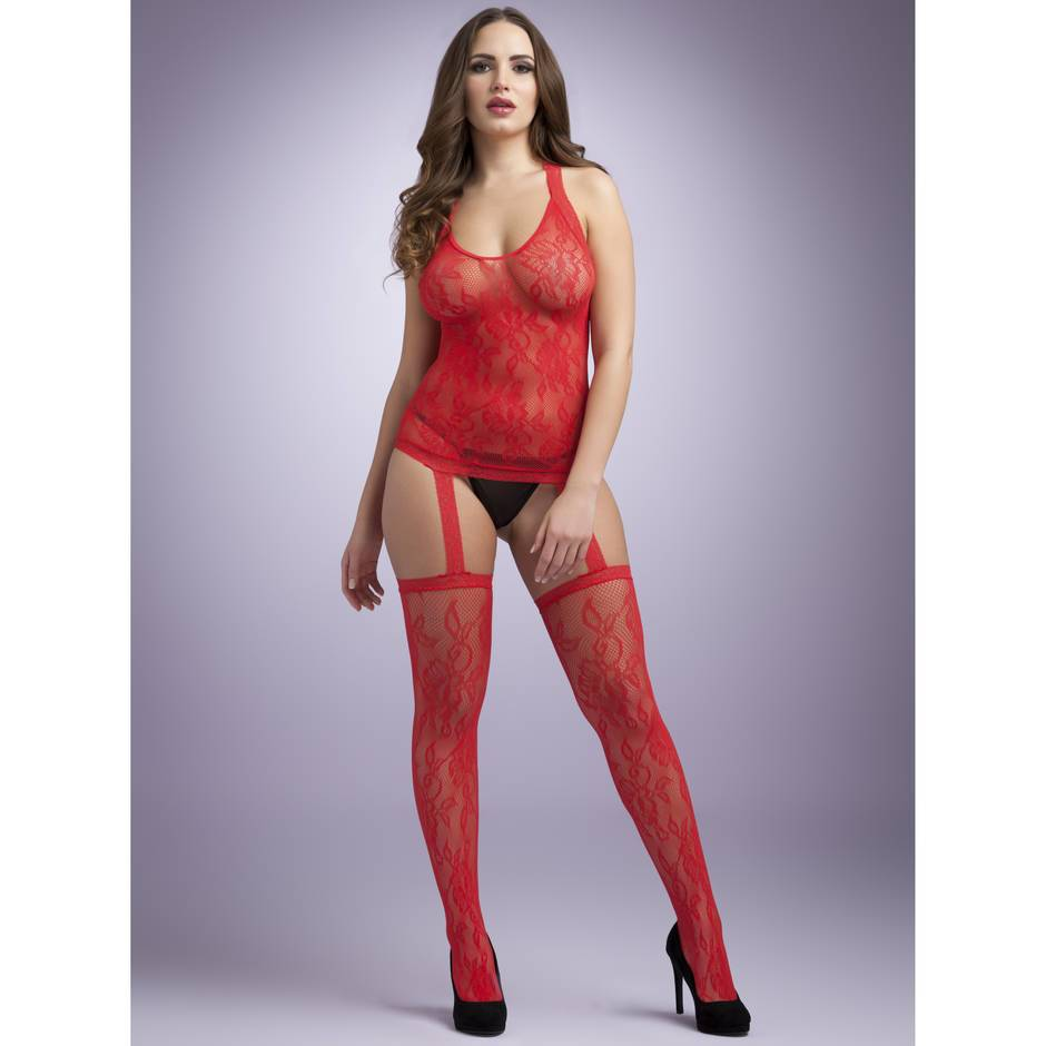 Lovehoney Red Floral Lace Halterneck Suspender Bodystocking