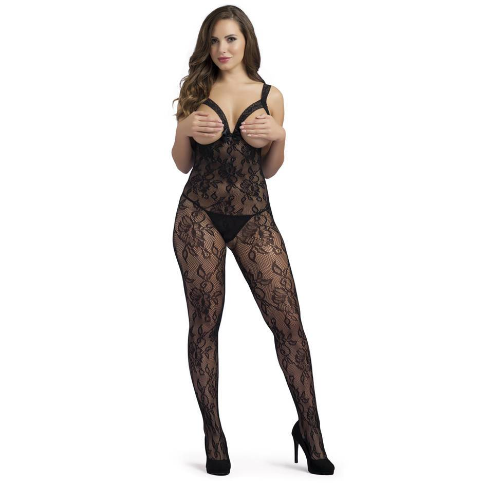 Lovehoney Crotchless Black Floral Lace Open Bust Bodystocking