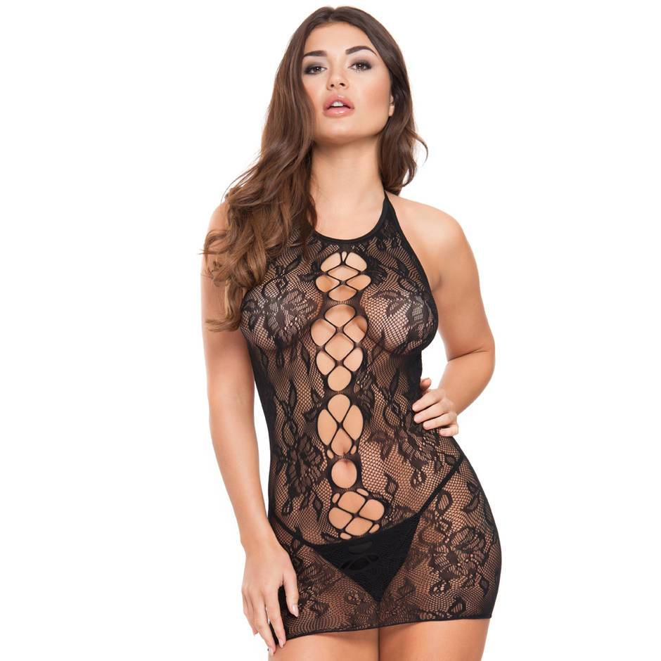 Lovehoney Floral Lace Cut-Out Front Mini Dress