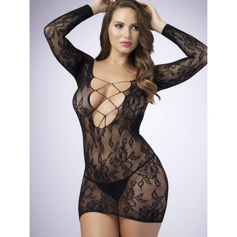Lovehoney Lace Criss-Cross Long-Sleeve Mini Dress