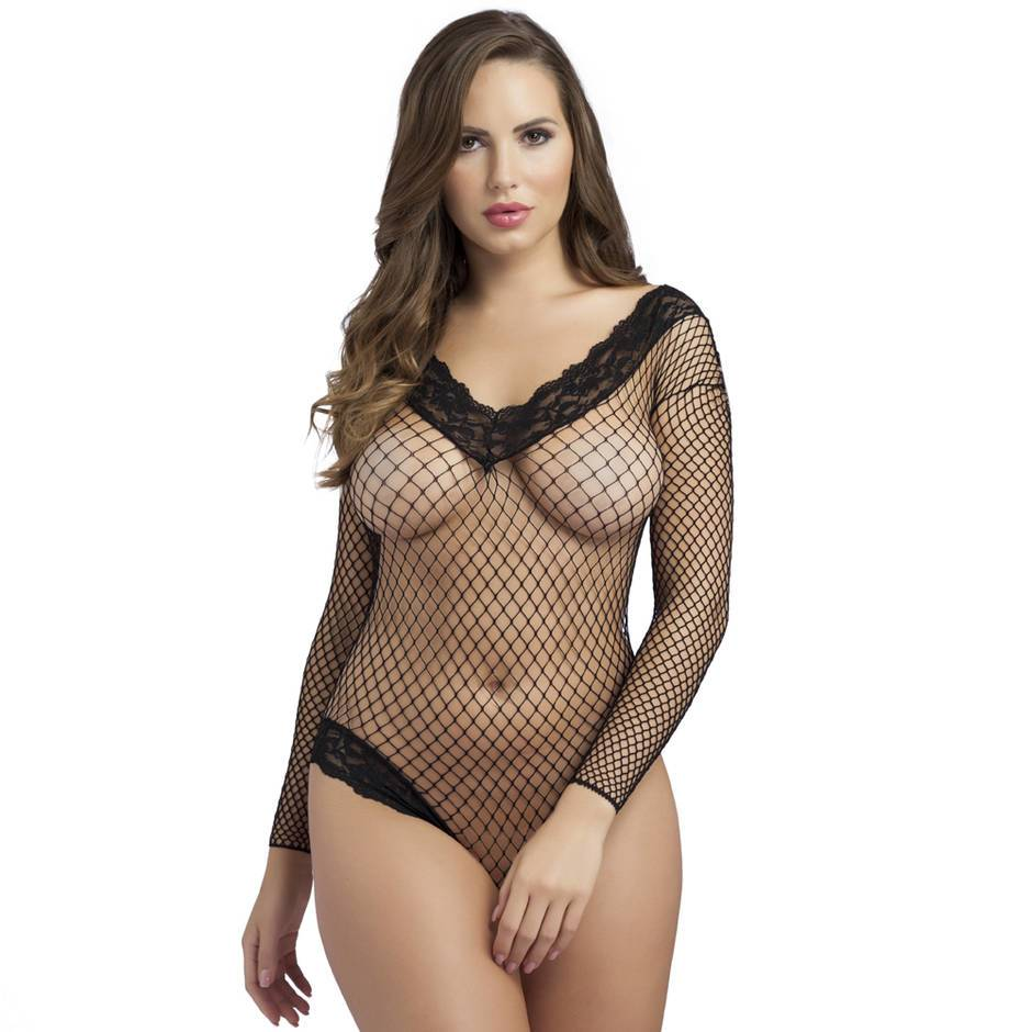 Lovehoney Crotchless Lace Trim Fishnet Body