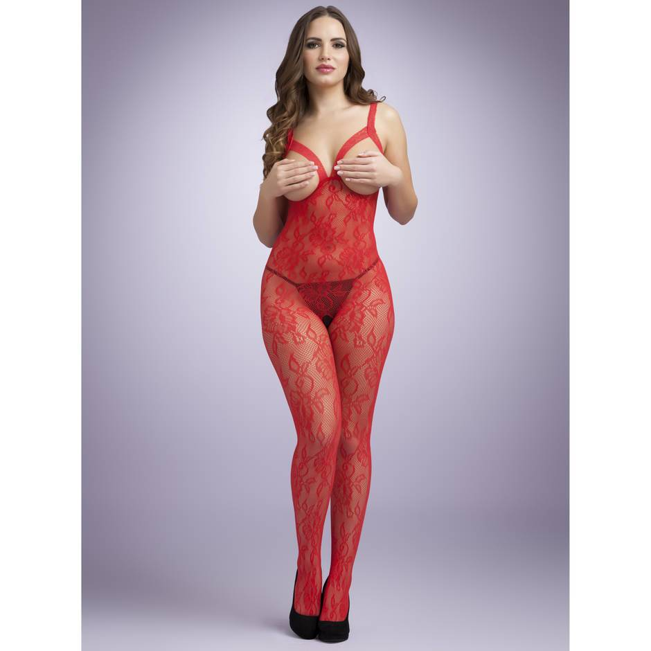 Lovehoney Crotchless Red Floral Lace Open Bust Bodystocking