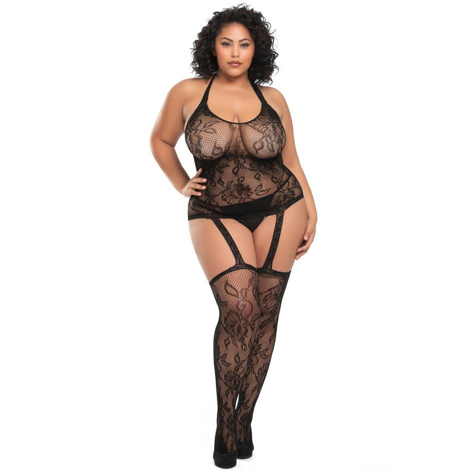 Lovehoney Plus Size Flaunt It Lace Bodystocking