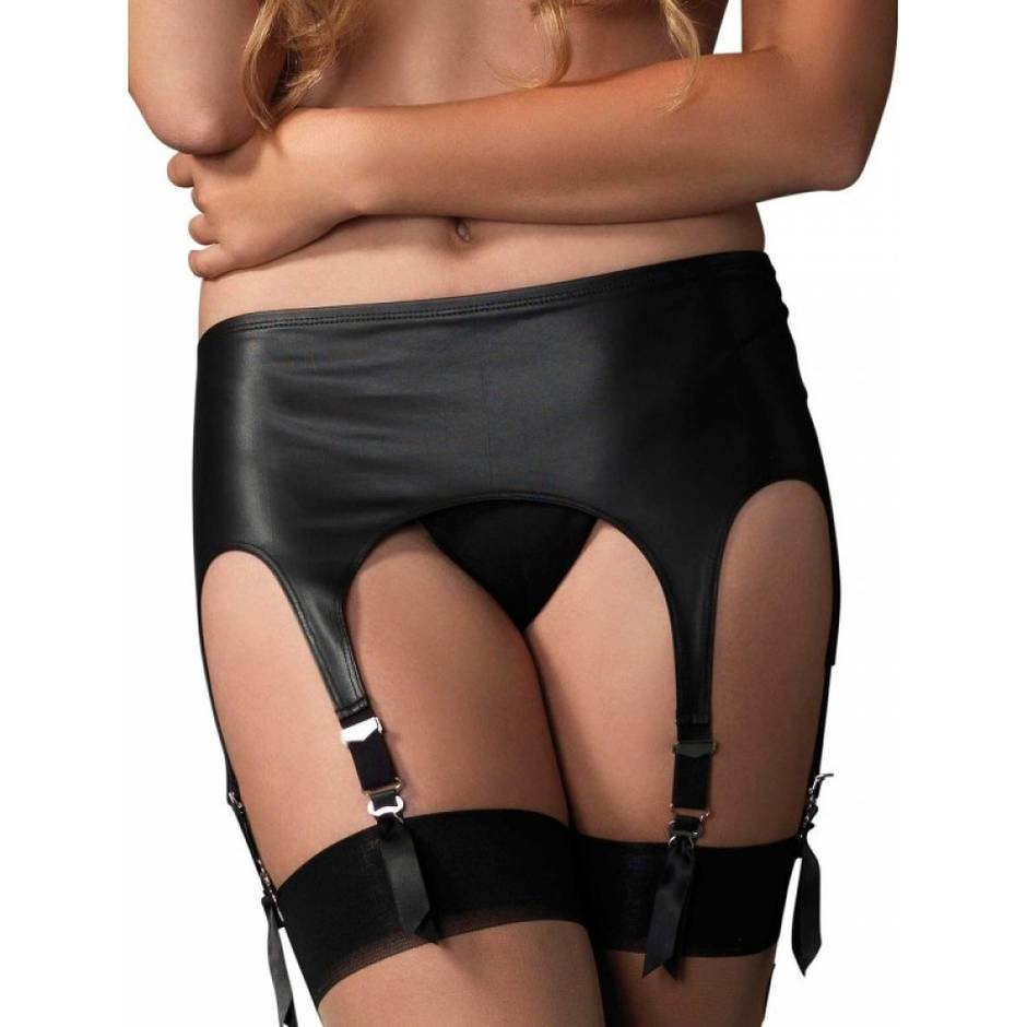 Leg Avenue Wet Look Retro 6 Strap Garter Belt