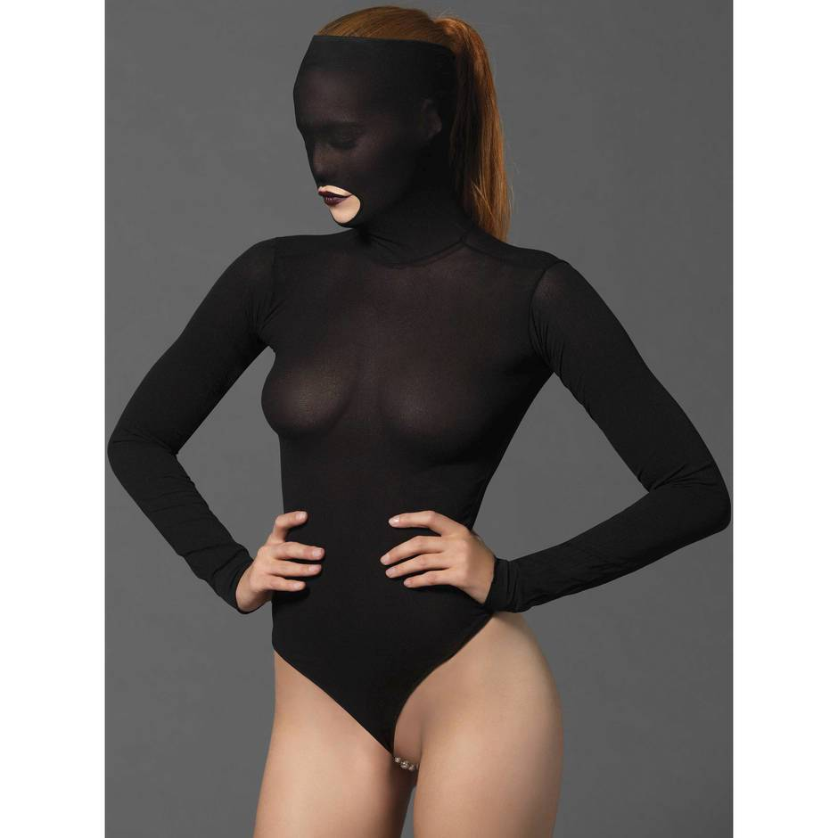Leg Avenue Kink Stimulating Beaded String Opaque Masked Teddy