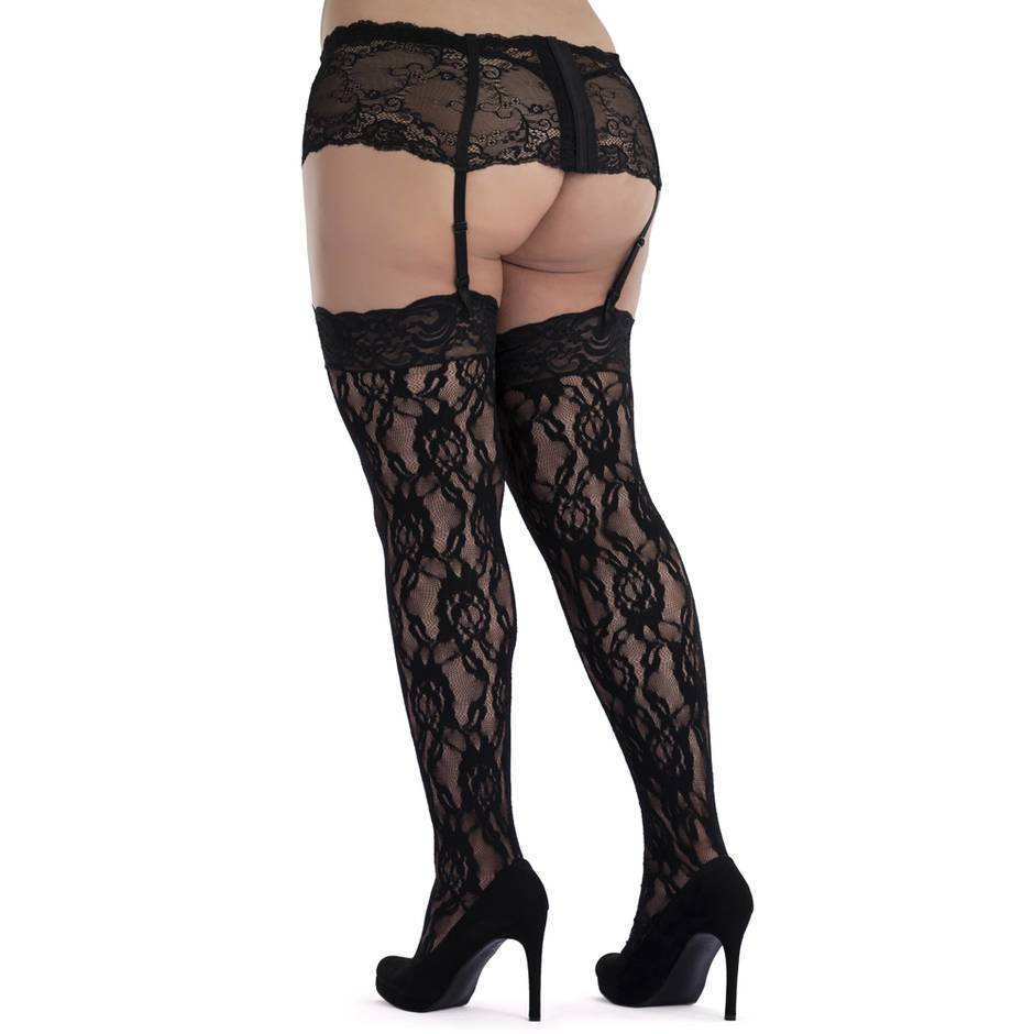 Lovehoney Plus Size Rose-Patterned Lace Stockings