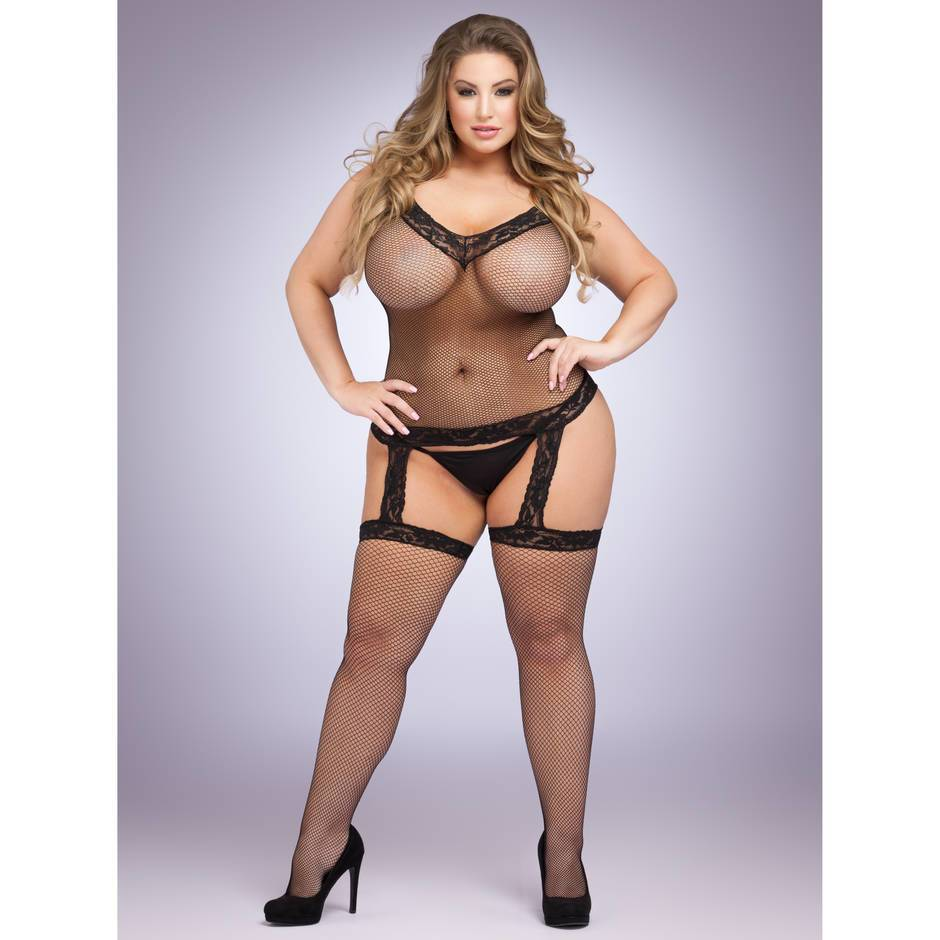 Lovehoney Plus Size Fishnet and Lace Suspender Bodystocking