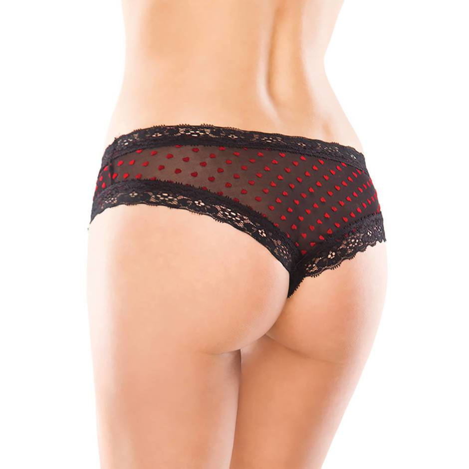 Coquette Crotchless Heart Print Panties