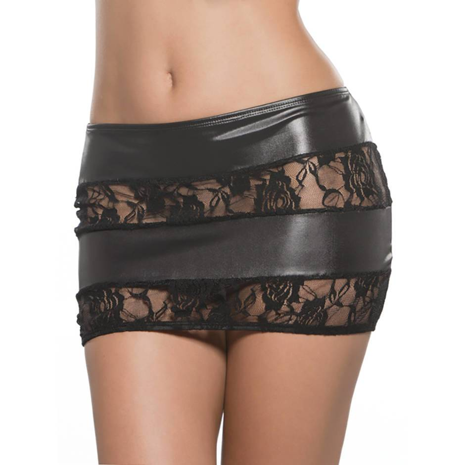 Kitten by Allure Fetishwear Lace and Wet Look Mini Skirt