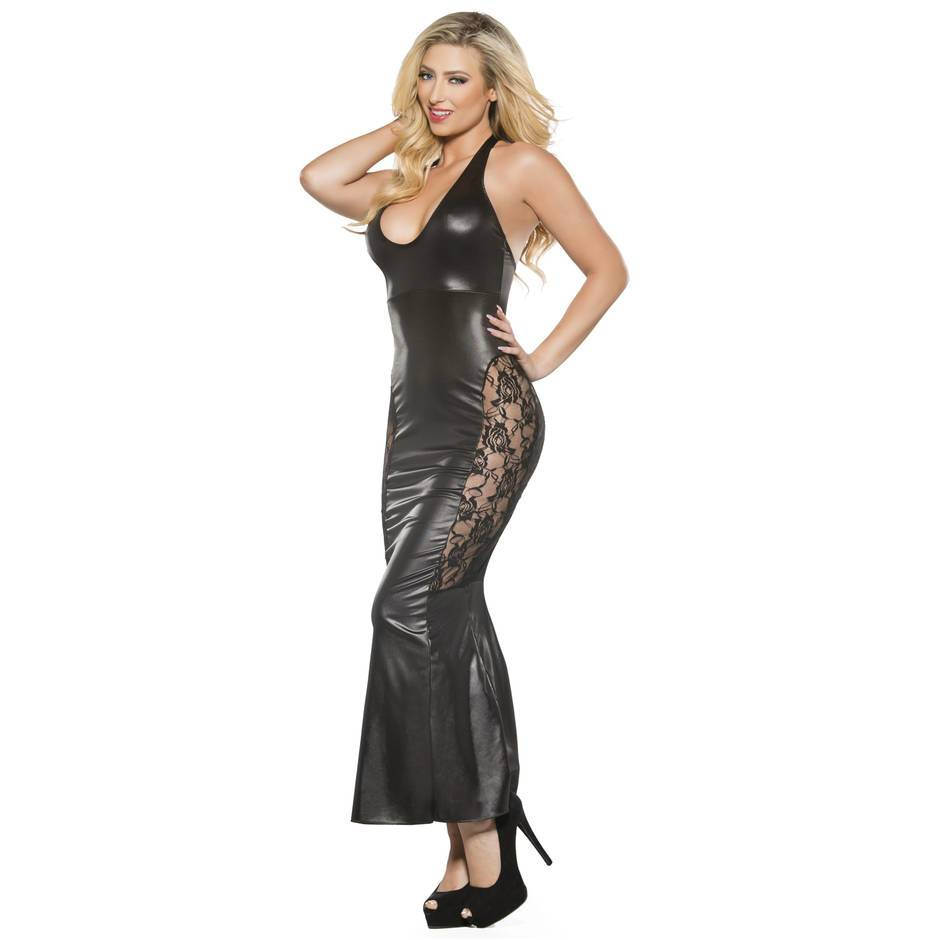 Kitten by Allure Fetishwear Lace and Wet Look Long Dress