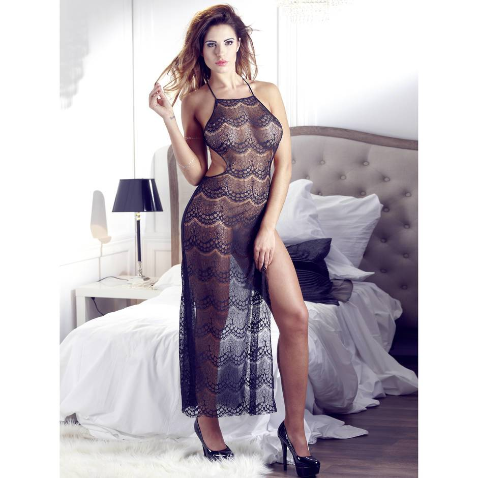 Mandy Mystery Sheer Lace Long Chemise