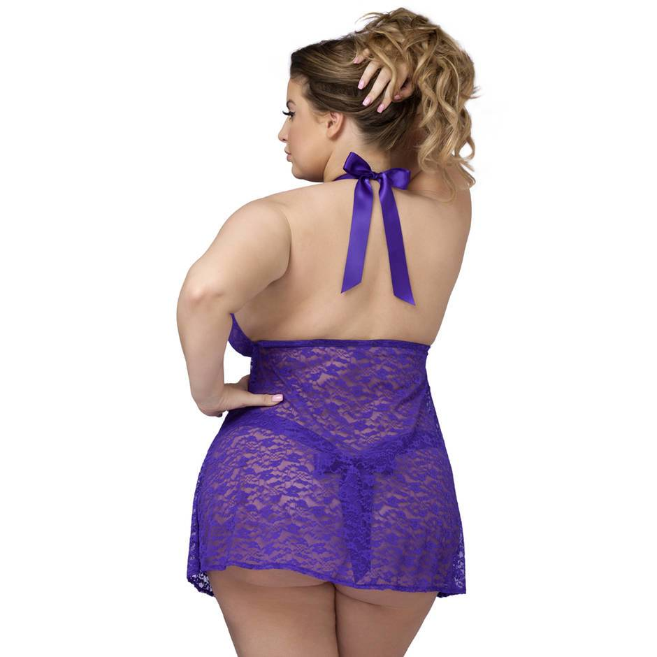 439111eebbd ... Lovehoney Plus Size Unwrap Me Purple Lace Babydoll ...