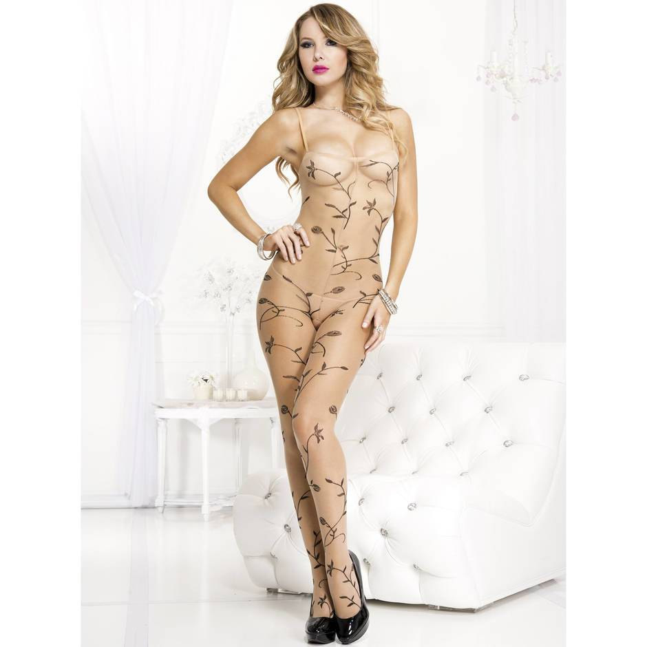 Music Legs Crotchless Vine Leaf Sheer Bodystocking