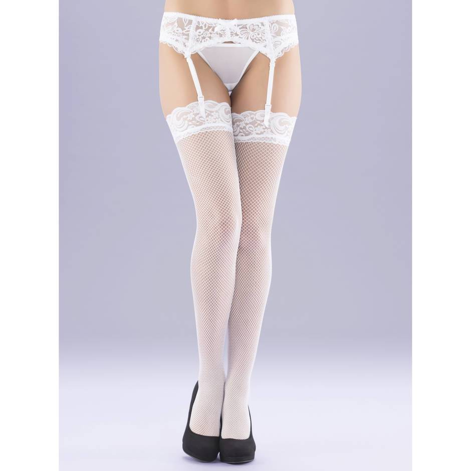 Lovehoney White Fishnet Lace Top Thigh High Stockings