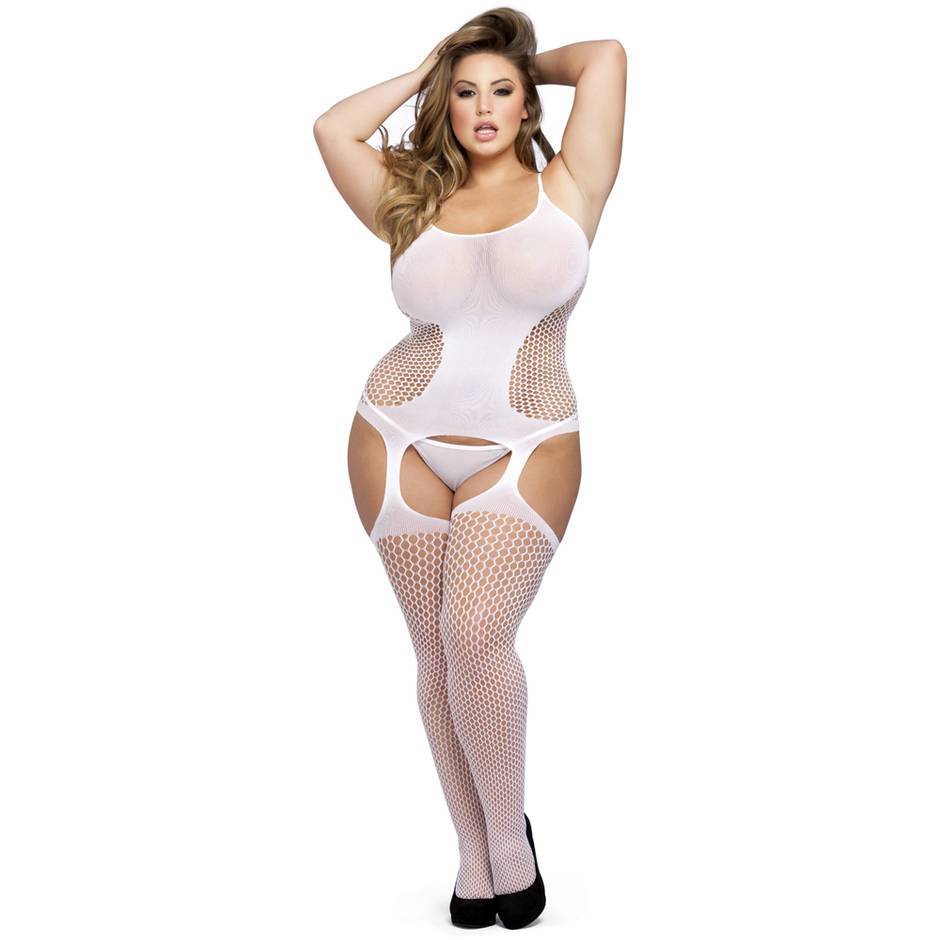 Lovehoney Plus Size White Hourglass Suspender Bodystocking