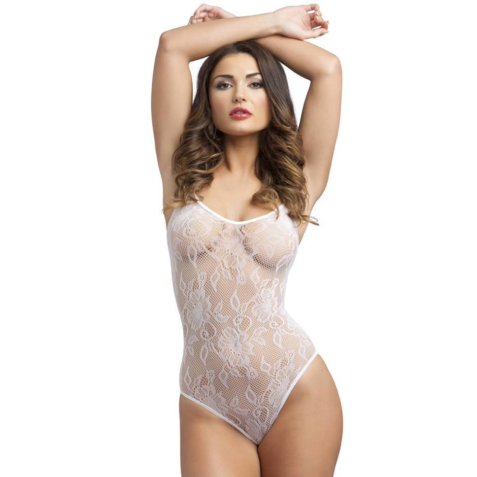 Body fendu bretelles spaghetti dentelle blanc, Lovehoney