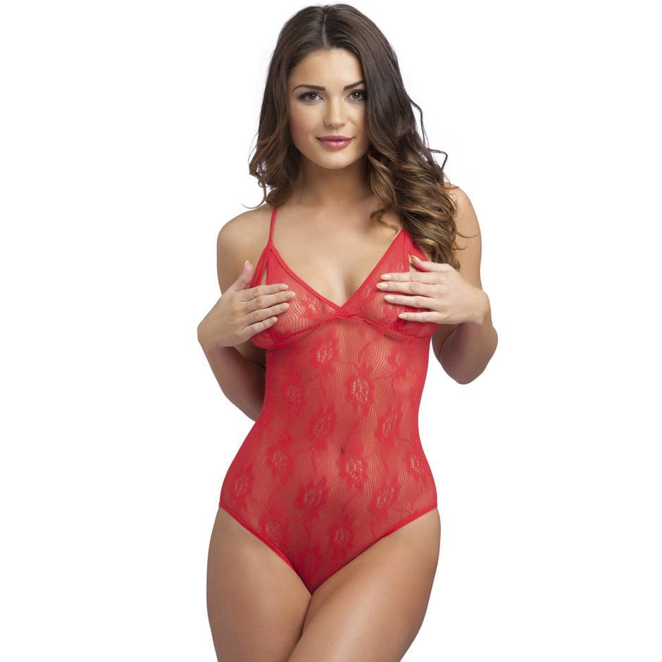 Body fendu bonnets ouverts dentelle rouge, Lovehoney