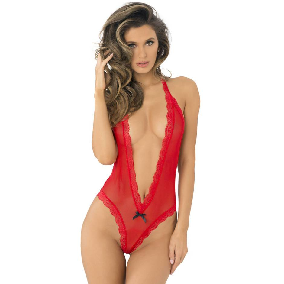 Rene Rofe Red Plunge Heart-Back Body
