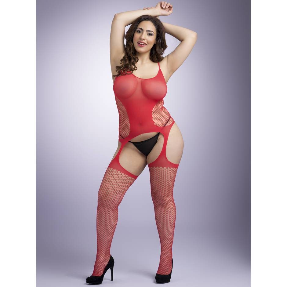 Lovehoney Plus Size Red Hourglass Suspender Bodystocking
