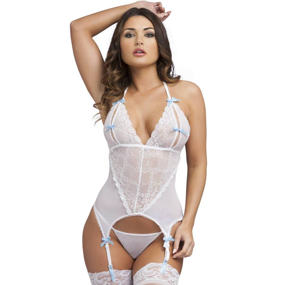 Ensemble combiné bonnets fendus string blanc, Lovehoney
