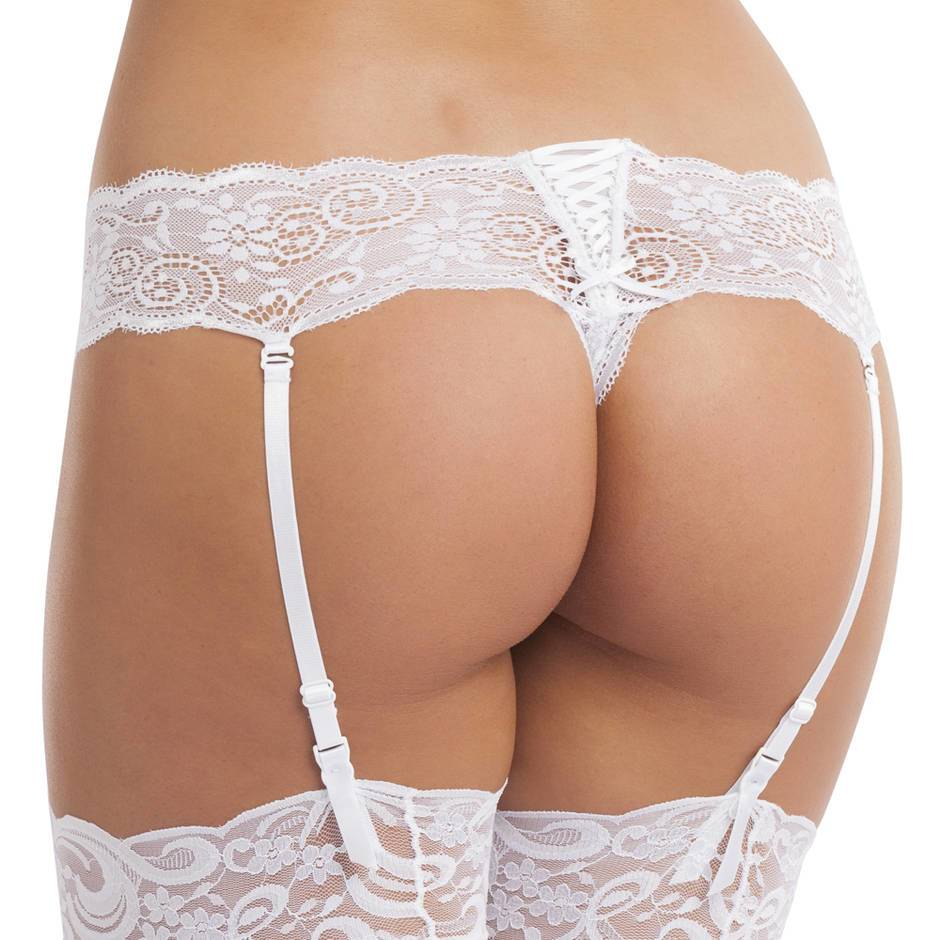 Lovehoney White Crotchless Lace Thong with Suspender Straps