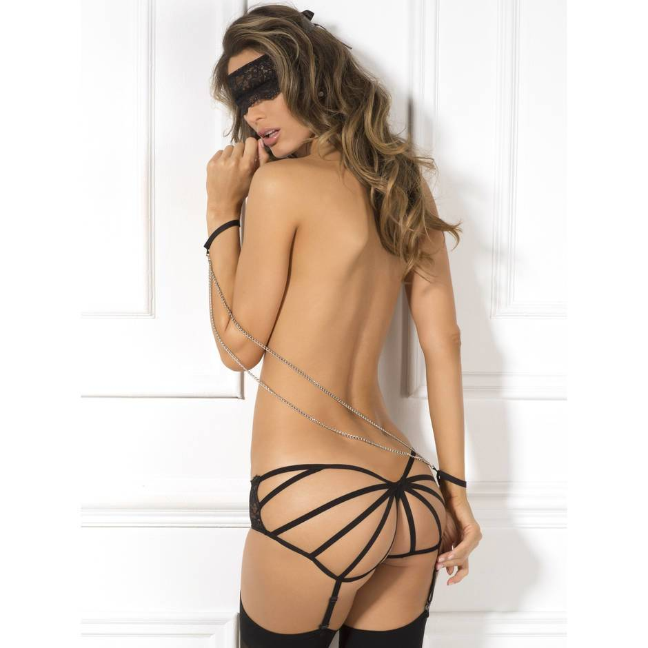 Rene Rofe Cage-Back Suspender Knickers and Eye Mask Set