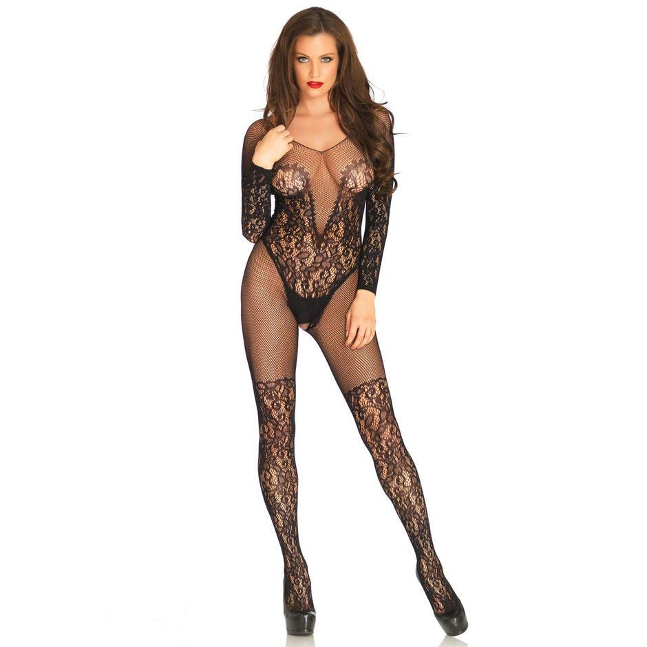 Leg Avenue Crotchless Plunge Lace Bodystocking
