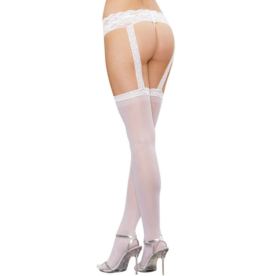 Dreamgirl White Crotchless Suspender Tights