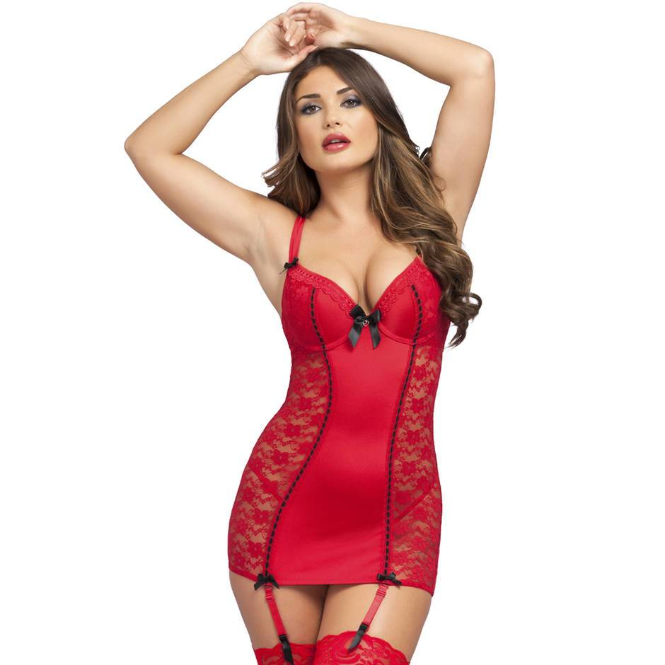 Lovehoney Seduce Me Red Push-Up Chemise Set