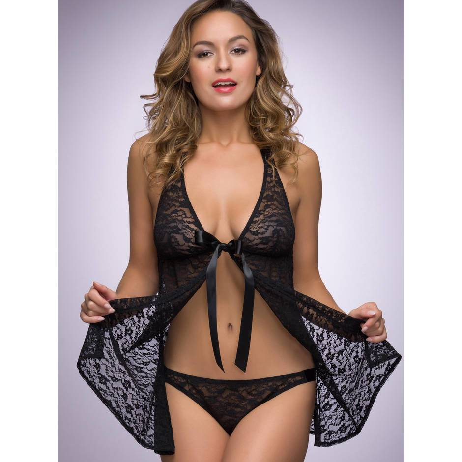 Lovehoney Unwrap Me Complete Lingerie Set Black