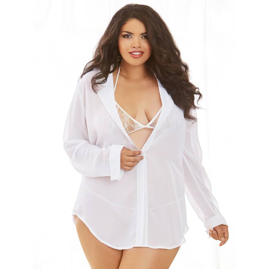 Dreamgirl Plus Size Sheer Boyfriend Shirt & Lace Bra Set