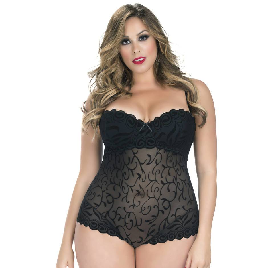 Oh La La Cheri Curves Plus Size Underwired Devoré Body